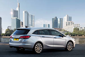 Pictures Vauxhall Building Silver color Back view 2015 Astra Sports Tourer Cars