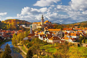 Picture Czech Republic Houses Rivers Autumn Clouds  Cities