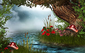 Picture River Mushrooms nature Grass 3D Graphics Nature