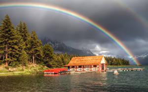 Images Coast Mountains Marinas Rainbow Storm cloud Trees Nature