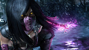 Hintergrundbilder Mortal Kombat Maske Brünette Haar Mileena the Pretty Slasher Spiele 3D-Grafik Mädchens