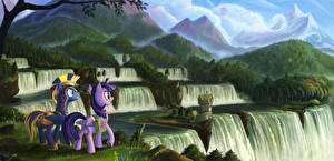 Image My Little Pony Horse Waterfalls Mountain Two Cartoons