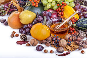 Pictures Fruit Honey Pumpkin Grapes Nuts Pears Berry Pine cone