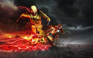 Wallpapers Superheroes The Flash 2014 TV series The Flash hero Run Fan ART Reverse-Flash Eobard Thawne Barry Allen Flash dc comics Fantasy