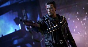 Bureaubladachtergronden The Terminator Speelgoed Arnold Schwarzenegger Robot T-800 Films Fantasy Beroemdheden