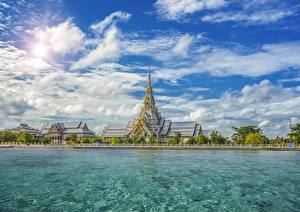 Image Thailand Temple Sky Waterfront Clouds Sothorn Temple Chachoengsao Province Cities