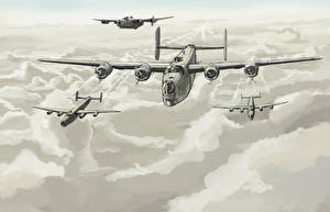 Fotos Flugzeuge Gezeichnet Bomber Wolke