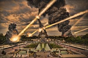 Wallpapers Explosions France War Paris Eiffel Tower Smoke Street Cities Fantasy