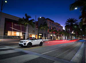 Wallpaper Land Rover Houses Roads White Convertible Street Night Palms 2015 Range Rover Evoque convertible Cars Cities
