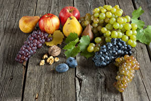 Wallpaper Fruit Grapes Apples Pears Plums Nuts Wood planks