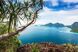 Hintergrundbilder Malaysia Tropen Meer Gebirge Landschaftsfotografie HDR Ast Bohey Dulang Island Natur