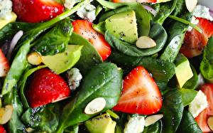 Pictures Strawberry Salads Closeup Foliage Food