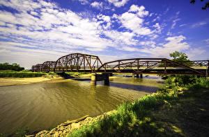 Hintergrundbilder USA Flusse Brücken Himmel HDRI Wolke Oklahoma Natur