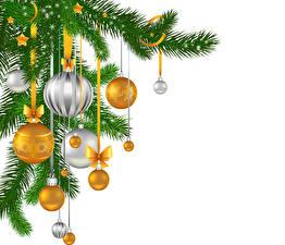Hintergrundbilder Feiertage Neujahr Vektorgrafik Ast Kugeln Schleife