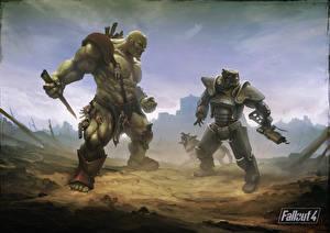 Hintergrundbilder Fallout Ungeheuer Fallout 4 Shepherd Rüstung super mutant Brotherhood of Steel art Spiele Fantasy Tiere