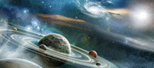 Photo Planets Ring system Fantasy Space 3D_Graphics