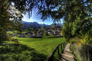 Fotos Schweiz Gebäude Gebirge Grünland HDRI Gras Ast Gruyeres Städte