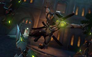 Wallpaper Overwatch Helmet Swords Jump genji blizzard Genji Shimada 3D Graphics Fantasy
