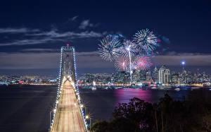 Hintergrundbilder USA Feuerwerk Brücken Küste Kalifornien San Francisco Nacht