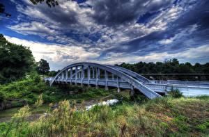 Bilder USA Flusse Brücken Himmel HDR Strauch Wolke Kansas Natur