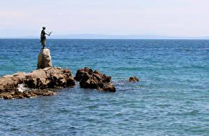 Wallpapers Croatia Sea Sculptures Stones Opatija Nature