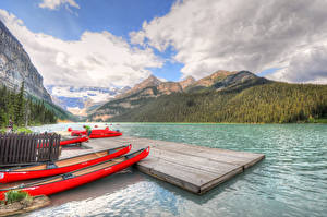 Wallpapers Canada Lake Parks Mountain Boats Landscape photography Clouds Banff Lake Louise Nature