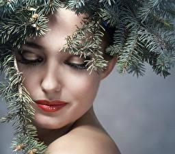 Bilder Neujahr Ast Gesicht Make Up junge Frauen
