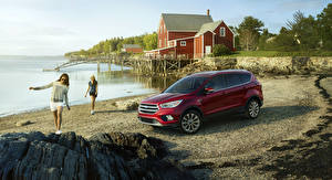 Pictures Ford Houses Dark red Beach Escape Cars Girls