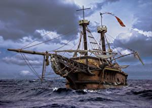 Wallpapers Ships Sailing Sea Clouds boat sails wood