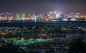 Bilder Vereinigte Staaten Gebäude Seebrücke San Diego Megalopolis Nacht