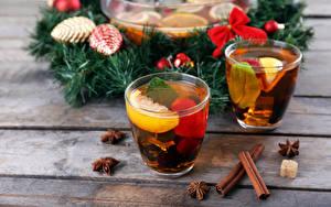 Fotos Neujahr Tee Zimt Trinkglas Ast Lebensmittel