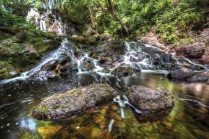 Hintergrundbilder Vereinigte Staaten Wasserfall Steine HDR Hungarian Falls Michigan Natur