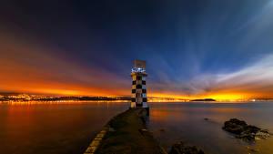 Images New Zealand Lighthouses Sunrise and sunset Night Wellington Nature