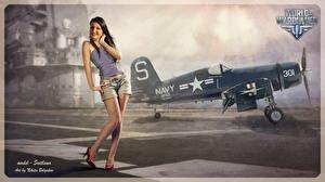 Hintergrundbilder World of Warplanes Flugzeuge Gezeichnet Nikita Bolyakov Shorts Spiele Mädchens