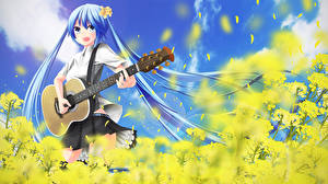 Tapety na pulpit Vocaloid Hatsune Miku Gitara nekobaka Dziewczyny