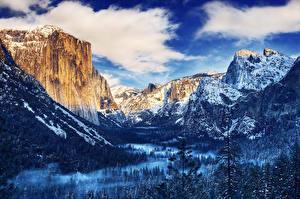 Fotos USA Park Gebirge Wälder Winter HDR Yosemite Wolke Natur