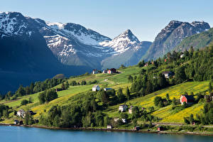 Wallpapers Norway Mountains Coast Houses Grasslands Scenery Olden Nature Cities