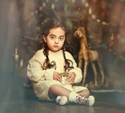 Hintergrundbilder Spielzeuge Neujahr Kleine Mädchen Sitzend Sweatshirt Kinder