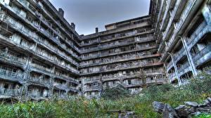 Hintergrundbilder Haus Ruinen Balkon Hashima Island in Japan building abandoned