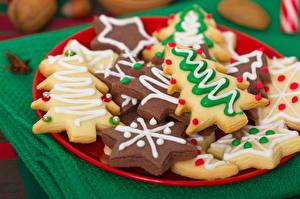 Photo Christmas Cookies Closeup Plate Food