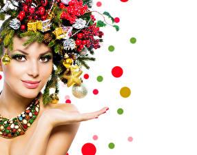Hintergrundbilder Neujahr Gesicht Make Up Ast Zapfen Mädchens