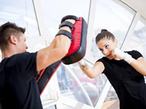 Fonds d'écran Boxe anglaise Homme training blow personal trainer Sport Filles