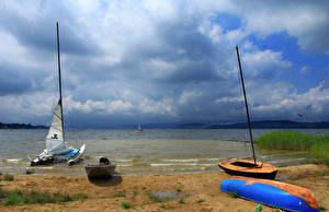 Image Czech Republic Lake Coast Sailing Sky Boats Clouds Lipno Lake Nature