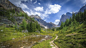 Wallpapers Canada Parks Mountain Sky Scenery Banff Spruce Creeks Trail Clouds Nature