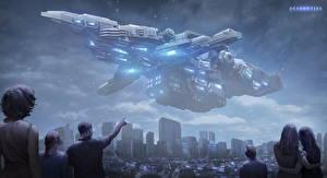 Bureaubladachtergronden Schepen Alien Fantasy Ruimte Steden