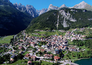 Pictures Italy Houses Mountains From above Molveno Cities