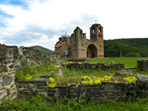 Image Temples Ruins Serbia Grass Made of stone Crkva Svetog Nikole Cities