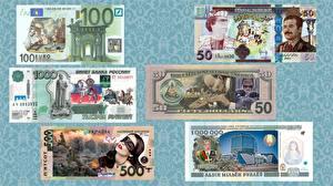 Hintergrundbilder Geld Banknoten Euro Dollars Rubel Humor