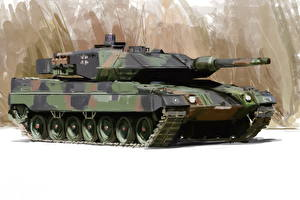 Picture Tank Painting Art Leopard 2 Leopard 2