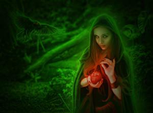 Fotos Magie Äpfel Aaskrähe Kapuze Fantasy Mädchens